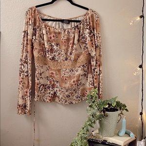 Y2k floral Off the shoulder boho long sleeve top